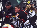 PHOTO: Caleb Moore, center, watches practice for Snowmobile Freestyle, Jan. 24, 2013, during the 2013 Winter X Games in Aspen.