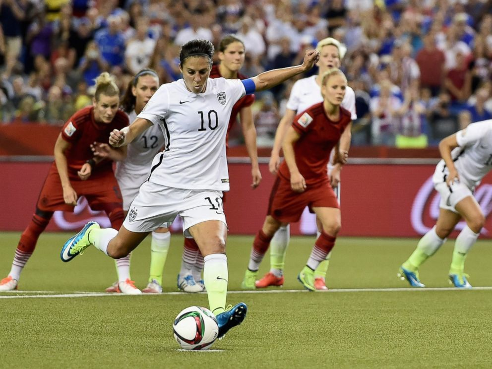 PHOTO: Carli Lloyd of U.S. scores the opening goal from a penalty in the FIFA Womens World Cup 2015 Semifinal Match at Olympic Stadium, June 30, 2015, in Montreal, Canada.