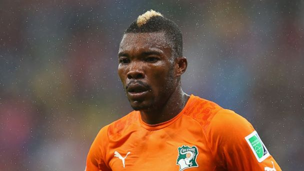 PHOTO: Die Serey of the Ivory Coast looks on in the rain during the 2014 FIFA World Cup Brazil Group C match between the Ivory Coast and Japan at Arena Pernambuco on June 14, 2014 in Recife, Brazil.