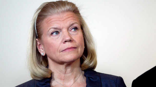 "PHOTO: Virginia ""Ginni"" Rometty, chief executive officer of International Business Machines Corp., attends a Business Roundtable news conference in Washington, D.C., March 7, 2012."