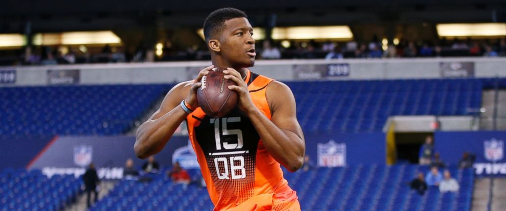 PHOTO: Heisman Trophy-winning quarterback Jameis Winston, seen here at the NFL Scouting Combine on Feb. 21, 2015, is highly anticipated to be tonights No. 1 NFL draft pick.