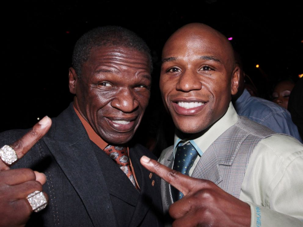 PHOTO: Floyd Mayweather, Sr. and Floyd Mayweather, Jr. attend the official Mayweather afterparty at Studio 54 at MGM Grand on May 1, 2010 in Las Vegas, Nevada.