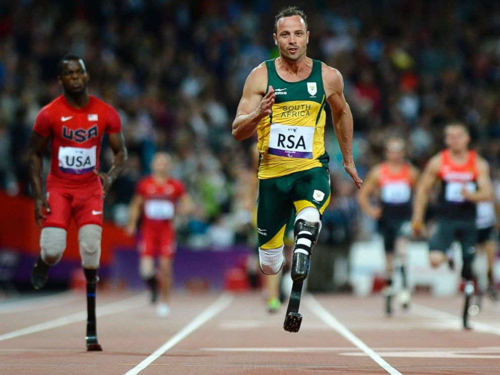 PHOTO:South Africas Oscar Pistorius runs across the finish line as he anchors his team home during the athletics competition at the London 2012 Paralympic Games at the Olympic Stadium in east London in this Sept. 5, 2012 file photo.