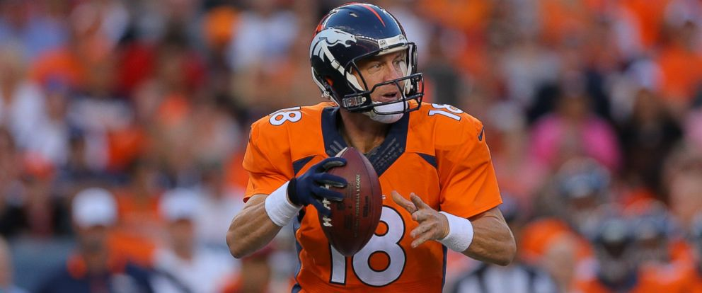 PHOTO: Peyton Manning of the Denver Broncos during a preseason game at Sports Authority Field at Mile High on Aug. 23, 2014 in Denver, Colorado.