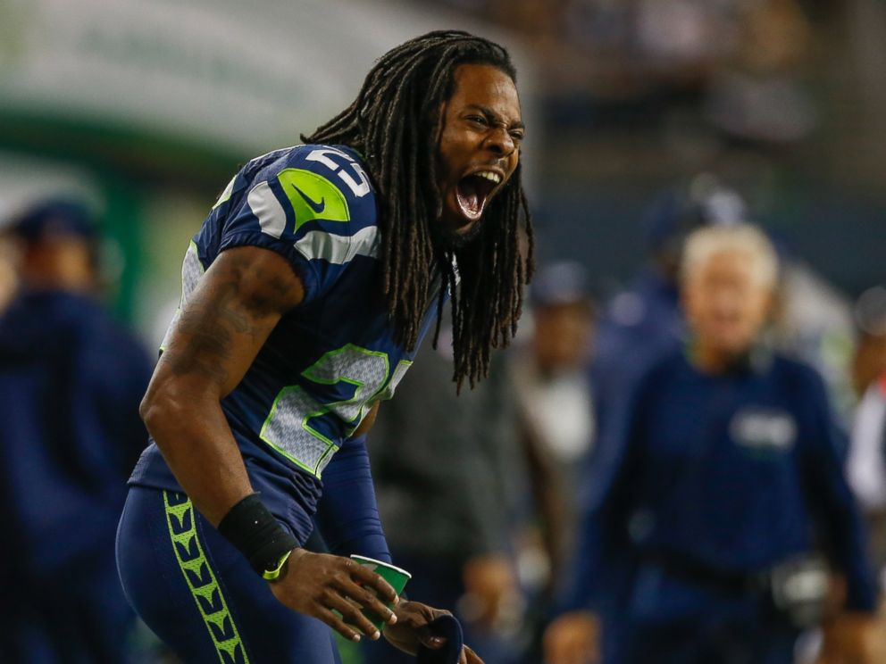 PHOTO: Seattle Seahawks cornerback, Richard Sherman, reacts to a play against the San Diego Chargers at CenturyLink Field on Aug. 15, 2014 in Seattle, Washington.
