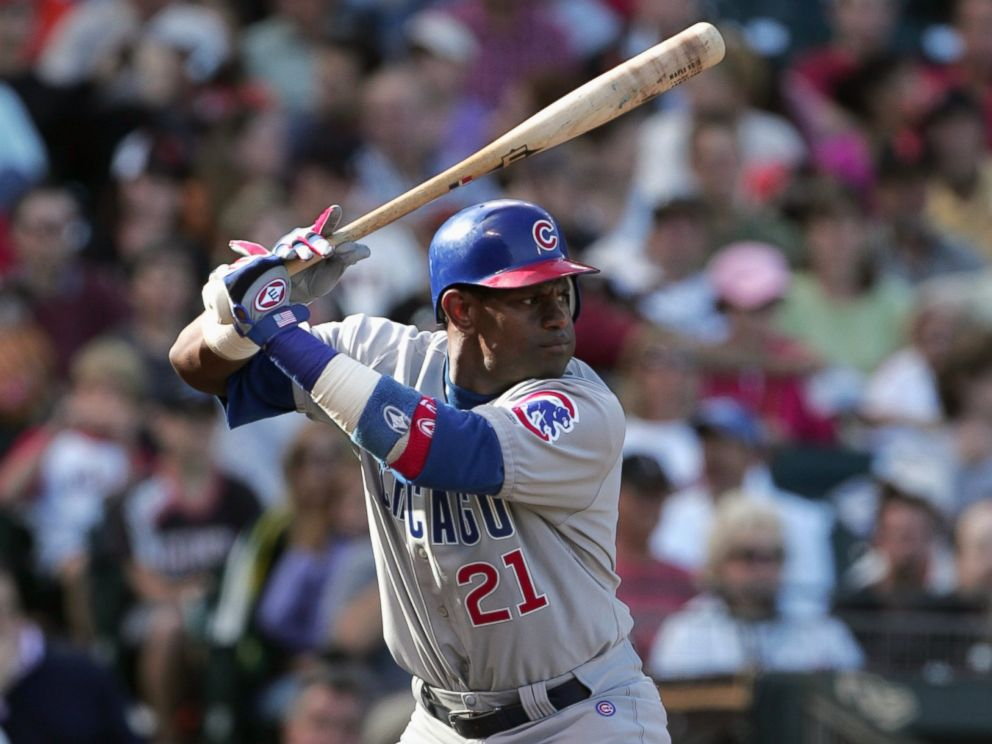 PHOTO: Sammy Sosa of the Chicago Cubs stands ready at bat during the game against the San Francisco Giants at SBC Park on Aug. 8, 2004 in San Francisco, Calif.