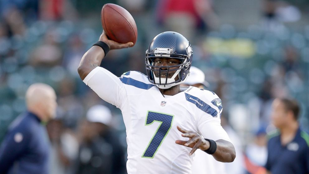 d23df7e07 Quarterback Tarvaris Jacksonof the Seattle Seahawks warms up before the  game against the Oakland Raiders on