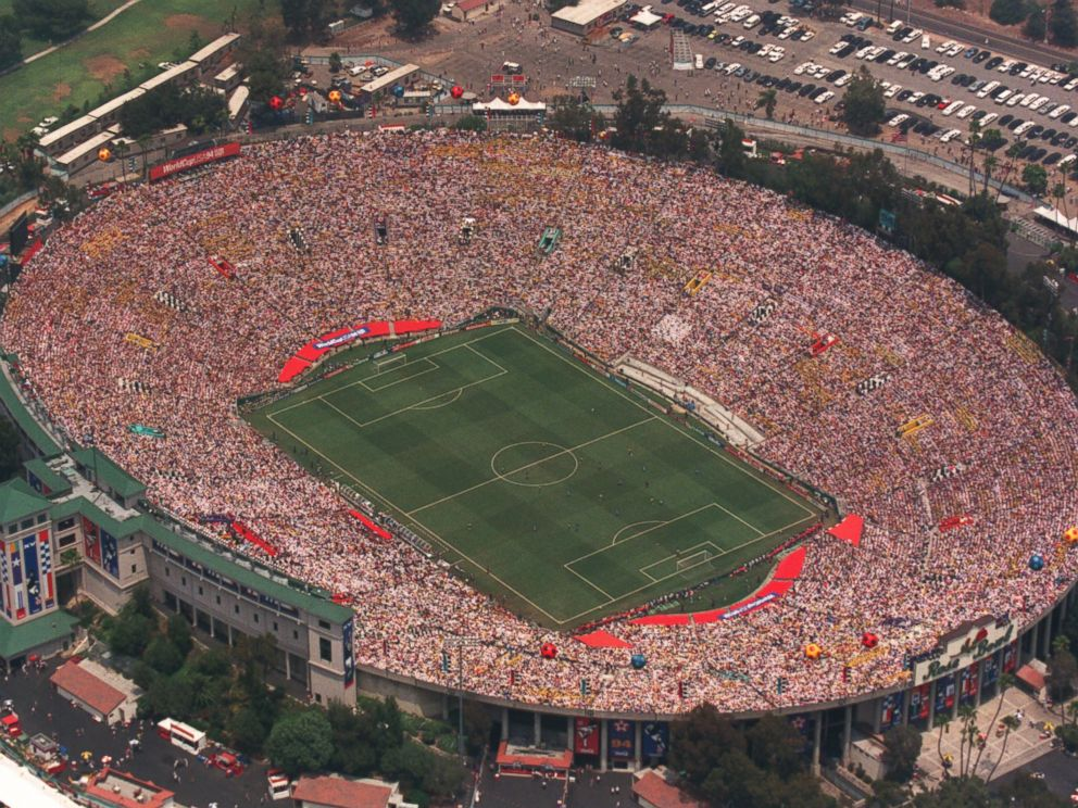 PHOTO: A aerial view of the Rose Bowl in Pasadena, Calif. during the 1994 World Cup finale game.
