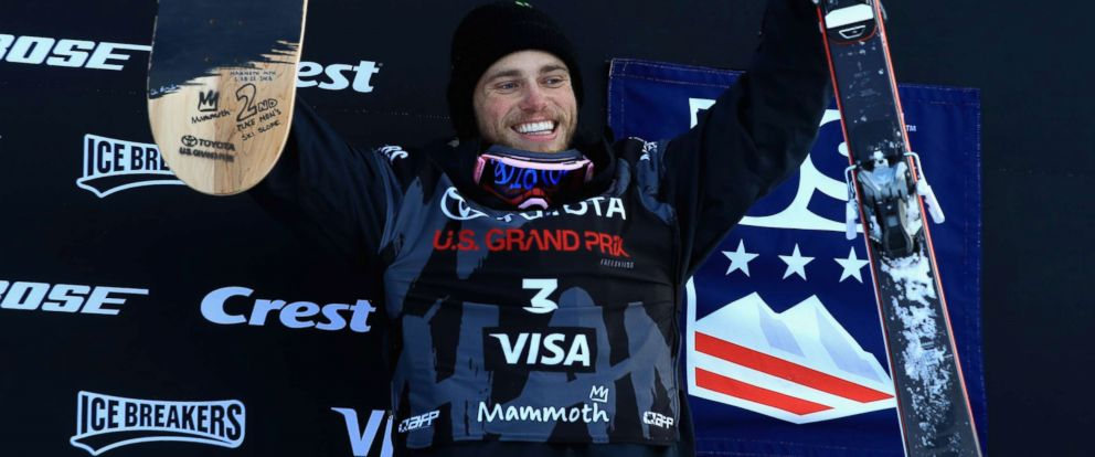 PHOTO: Gus Kenworthy reacts from the podium after finishing in second place in the final round of the Mens Freeski Slopestyle (AFP Platinum) during the Toyota U.S. Grand Prix on on January 21, 2018 in Mammoth, California.