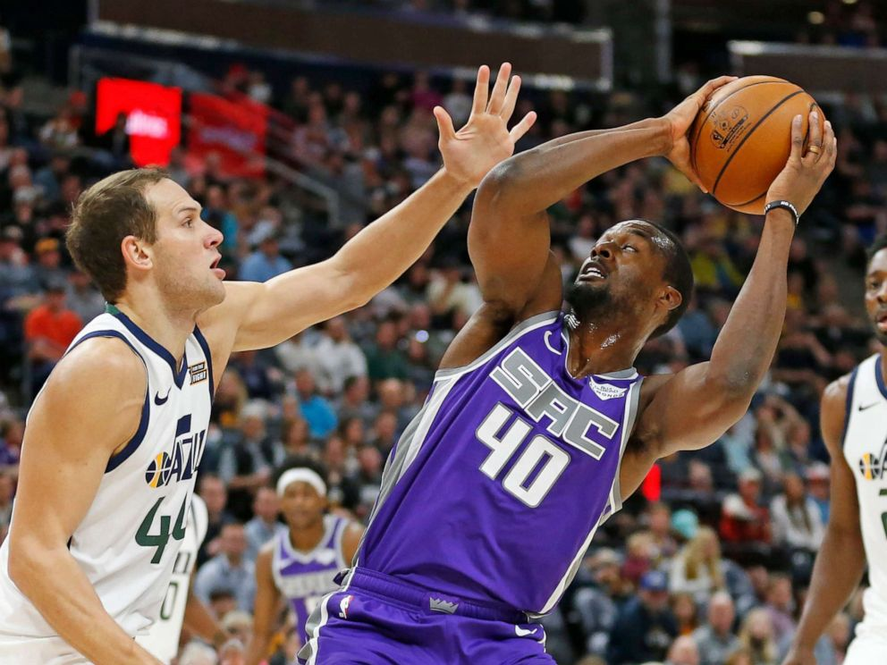 PHOTO: Sacramento Kings forward Harrison Barnes attempts a shot in the first half of a preseason NBA basketball game Monday, Oct. 14, 2019, in Salt Lake City.