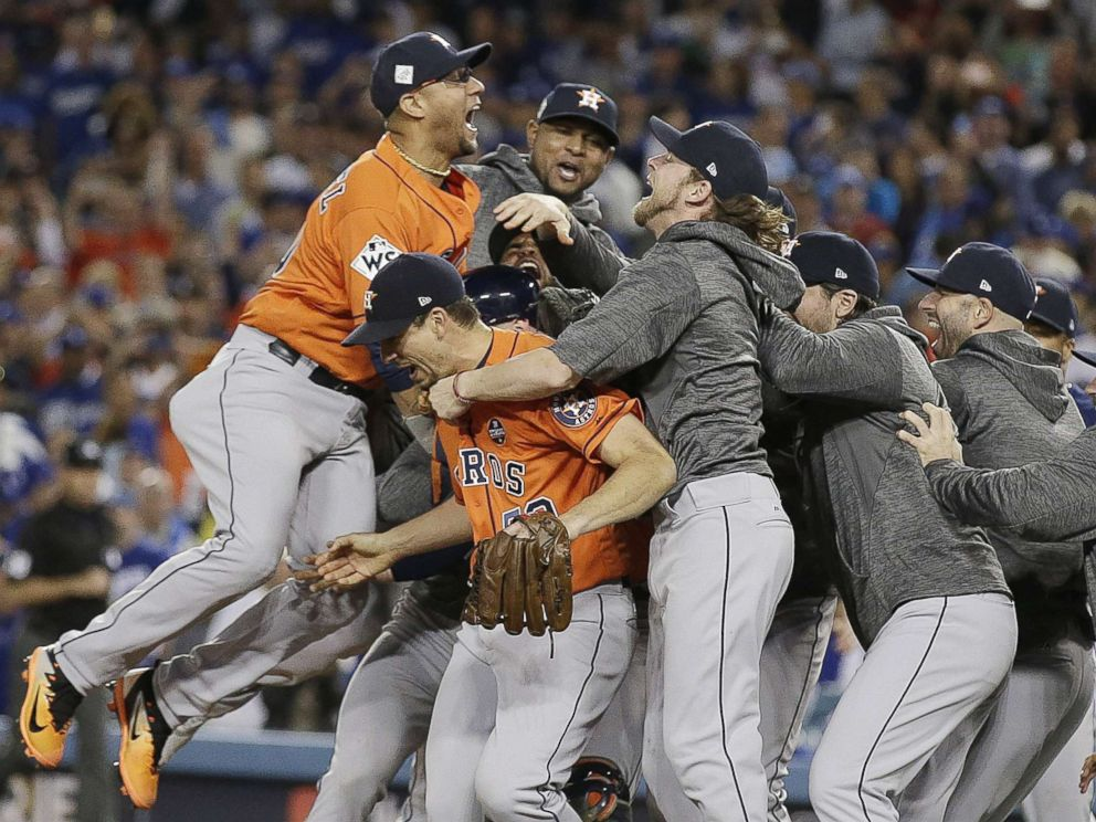 PHOTO: Houston Astros celebrate after defeating the Los Angeles Dodgers to win Major League Baseballs World Series game seven at Dodger Stadium in Los Angeles, Nov. 1, 2017.
