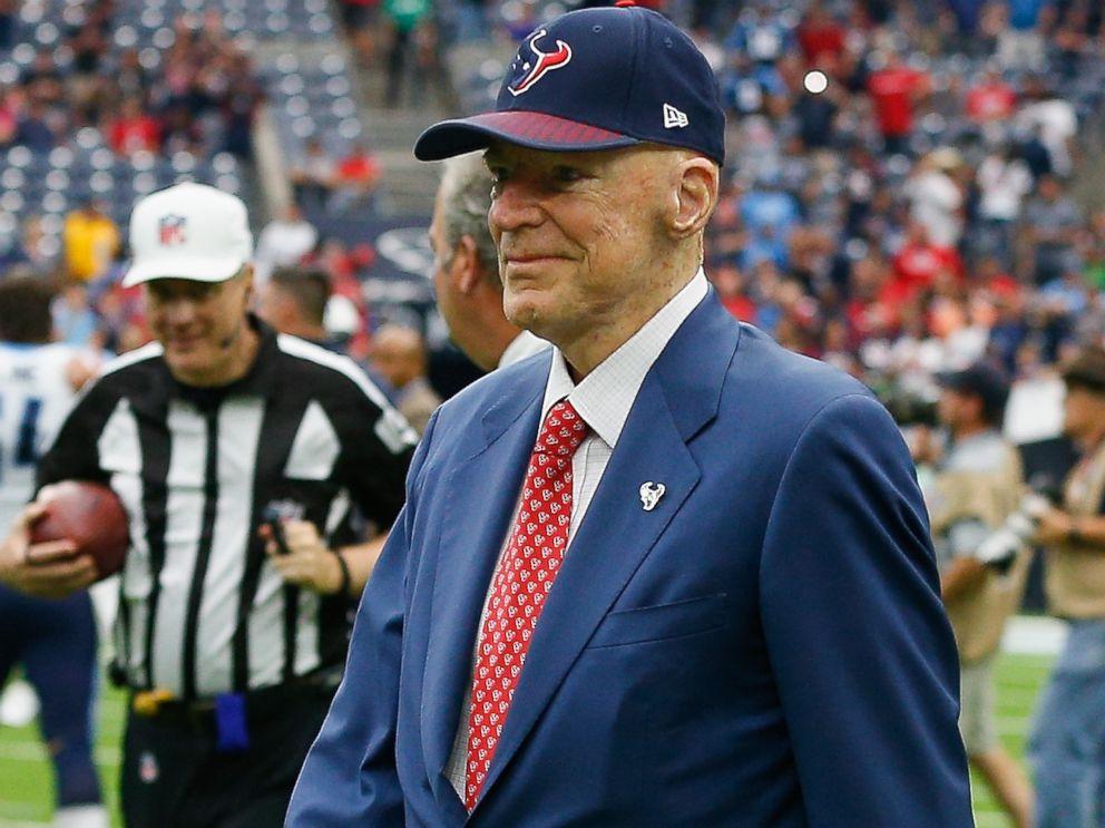 PHOTO: Houston Texans owner Bob McNair walks on the field at NRG Stadium on Oct. 1, 2017 in Houston.