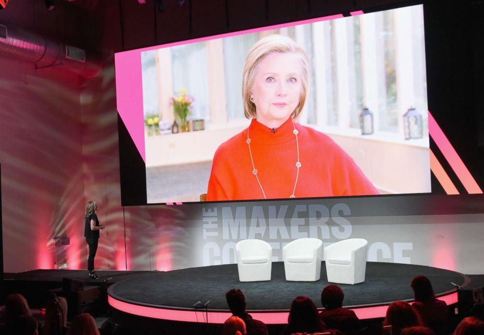 PHOTO: Hilary Clinton speaks live from New York with Founder and Executive Producer, MAKERS, Dyllan McGee during The 2018 MAKERS Conference at NeueHouse Hollywood on February 7, 2018 in Los Angeles, California.