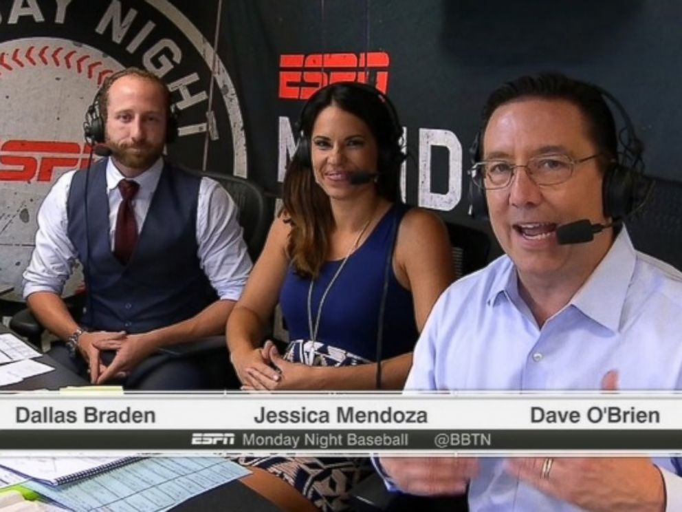 PHOTO: Jessica Mendoza became the first female ESPN MLB game analyst on the August 24, 2015 edition of Monday Night Baseball.