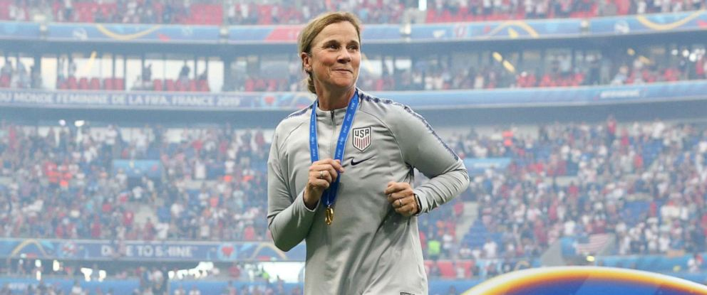 PHOTO: Jill Ellis, Head Coach of USA celebrates the victory in the 2019 FIFA Womens World Cup France Final match between The United States of America and The Netherlands at Stade de Lyon on July 07, 2019 in Lyon, France