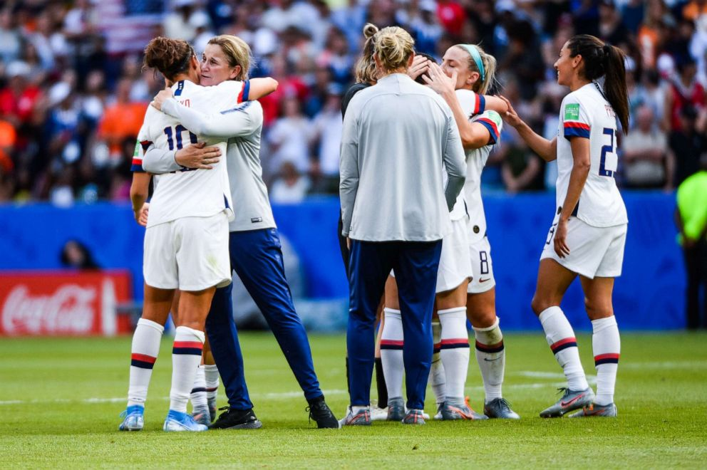 PHOTO: Unites States players celebrate their victory with United States head coach Jillian Ellis during the 2019 FIFA Womens World Cup France Final match between United States and Netherlands at Groupama Stadium on July 7, 2019 in Lyon, France.