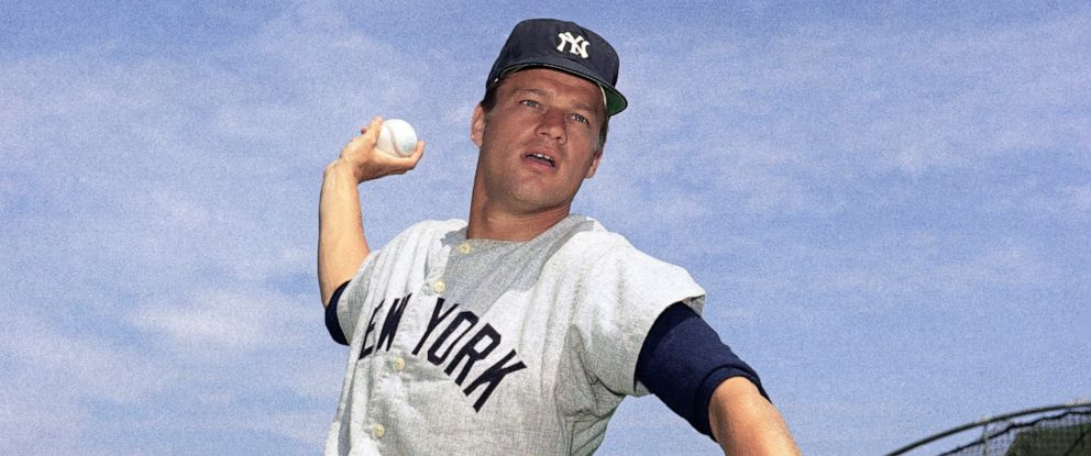 """PHOTO: This 1967 file photo shows New York Yankees pitcher Jim Bouton. Jim Bouton, the New York Yankees pitcher who shocked the conservative baseball world with the tell-all book """"Ball Four,"""" has died, Wednesday, July 10, 2019. He was 80."""