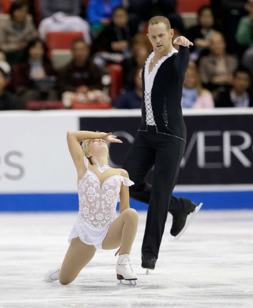 PHOTO: Caydee Denney and John Coughlin perform during the pairs free skating routine at the Skate America figure skating competition in Detroit, Sunday, Oct. 20, 2013.
