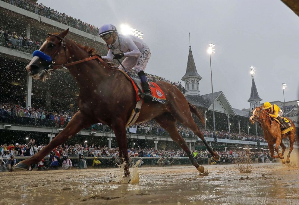 PHOTO: Justify, ridden by jockey Mike Smith wins the 144th running of the Kentucky Derby horse race at Churchill Downs in Louisville, Ky, May 5, 2018.