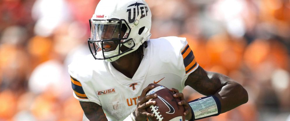 PHOTO: Quarterback Kai Locksley #1 of the UTEP Miners looks to pass during the game between the UTEP Miners and Tennessee Volunteers at Neyland Stadium, Sep. 15, 2018 in Knoxville, Tenn.