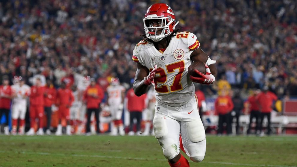In this Nov. 19, 2018, file photo, Kansas City Chiefs running back Kareem Hunt carries during the second half of the team's NFL football game against the Los Angeles Rams in Los Angeles.