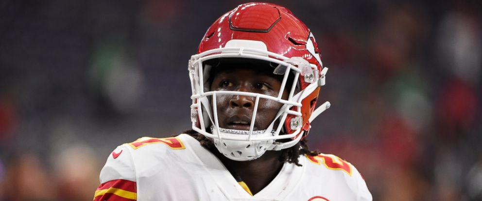 PHOTO: In this Oct. 8, 2017, file photo, Kansas City Chiefs running back Kareem Hunt warms up for the teams NFL football game against the Houston Texans in Houston.