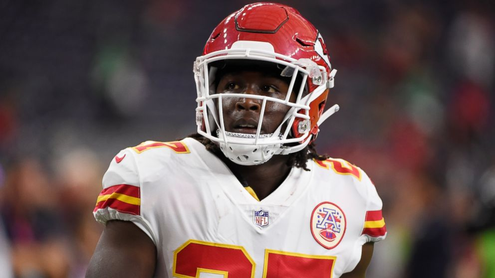 In this Oct. 8, 2017, file photo, Kansas City Chiefs running back Kareem Hunt warms up for the team's NFL football game against the Houston Texans in Houston.