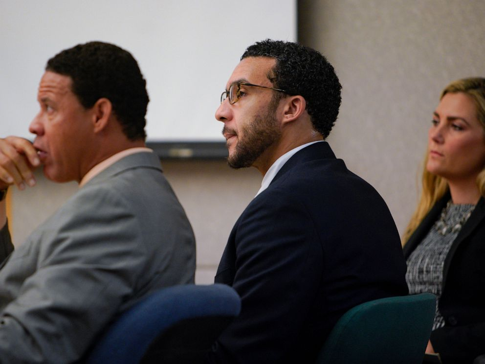 PHOTO: Sitting in Superior Court in Vista, Kellen Winslow, Jr., is flanked by defense attorneys Brian Watkins and Elizabeth Bahr as he listens to closing arguments to jury from Deputy District Attorney, Dan Owens on Tuesday, June 4, 2019, in Vista, Calif.