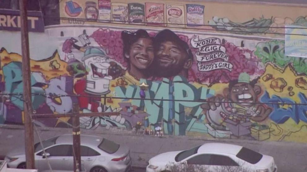 Mural dedicated to Kobe Bryant, his daughter appears in Los Angeles