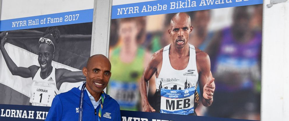 PHOTO: Meb Keflezighi was honored, Nov. 3, 2017, by New York Road Runners with the Abebe Bikila award.