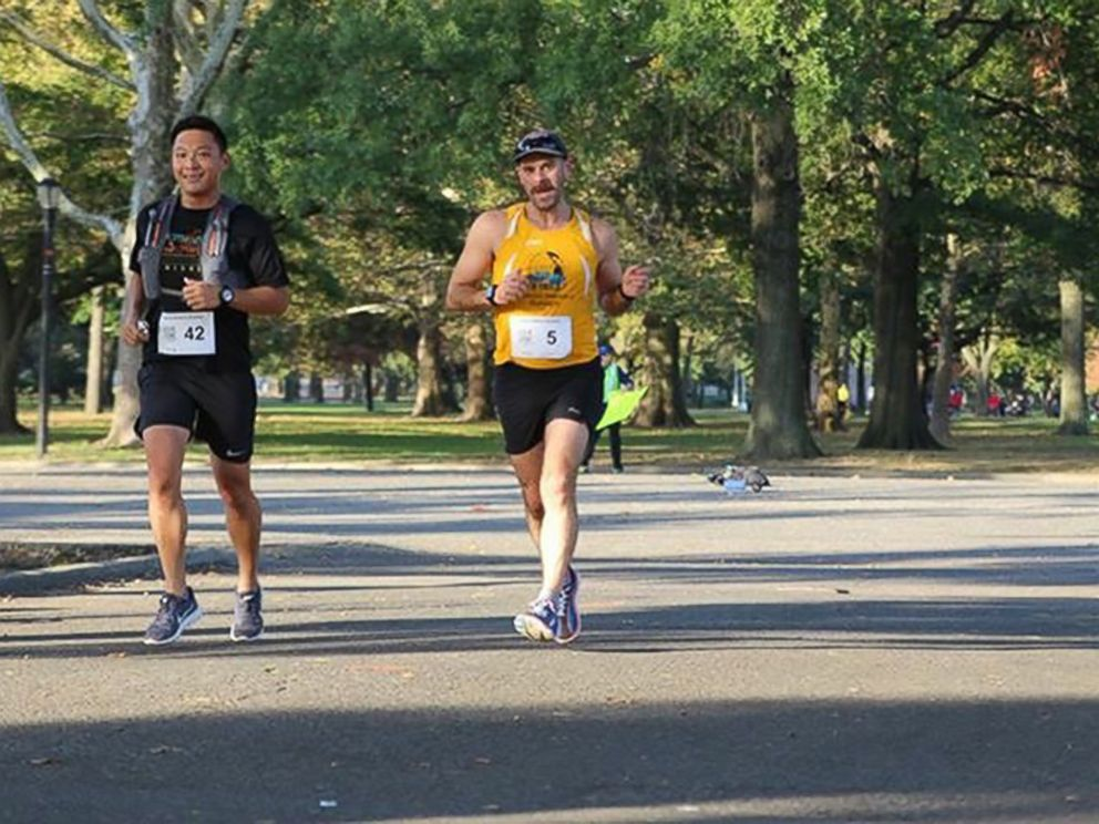PHOTO: Dr. Kevin Jiang and his patient Michael Bozzo running in preparation for the New York City Marathon.