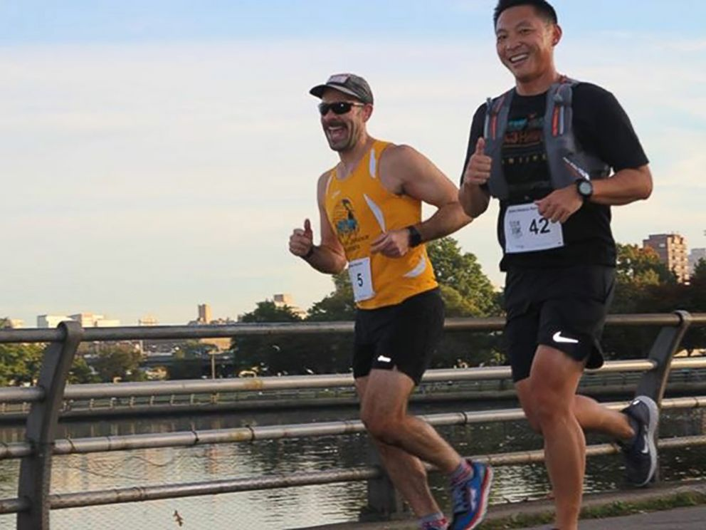 PHOTO: Dr. Kevin Jiang, right, and his patient Michael Bozzo running in preparation for the New York City Marathon.
