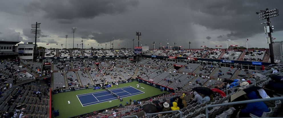 PHOTO: Play is suspended as rain falls onto centre court during day 9 of the Rogers Cup at IGA Stadium on Saturday, Aug. 10, 2019 in Montreal, Quebec, Canada.