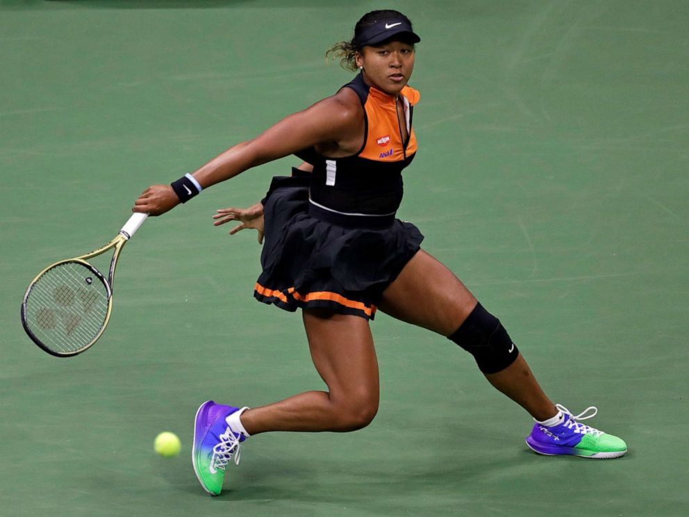 PHOTO: Naomi Osaka of Japan returns a shot to Coco Gauff during the third round of the U.S. Open tennis tournament, Aug. 31, 2019, in New York.