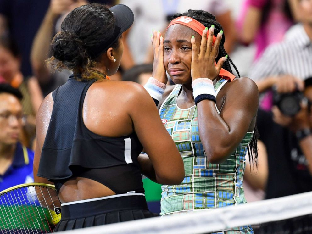 PHOTO: Naomi Osaka of Japan consoles Coco Gauff of the U.S. after their third round match on day six of the 2019 U.S. Open tennis tournament at USTA Billie Jean King National Tennis Center in Flushing, New York, Aug. 31, 2019.