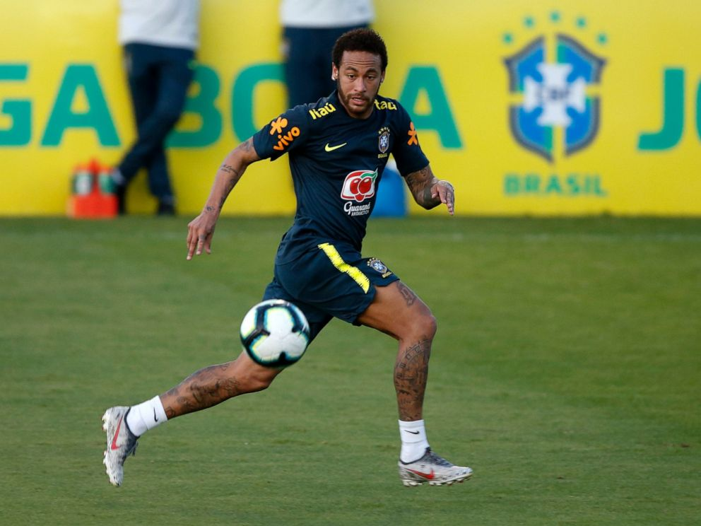 PHOTO: Brazils soccer player Neymar runs for the ball during a practice session at the Granja Comary training center ahead of the Copa America tournament, in Teresopolis, Brazil, Tuesday, May 28, 2019.