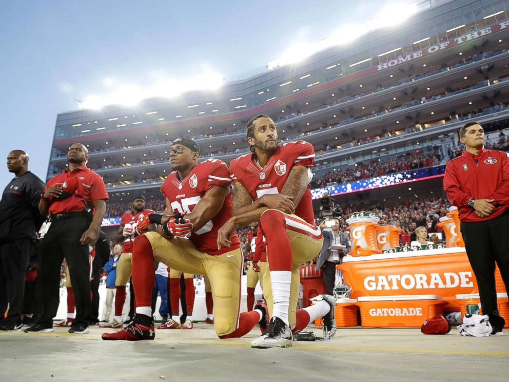 PHOTO: San Francisco 49ers safety Eric Reid (35) and quarterback Colin Kaepernick (7) kneel during the national anthem before an NFL football game against the Los Angeles Rams in Santa Clara, Calif., Sept. 12, 2016.