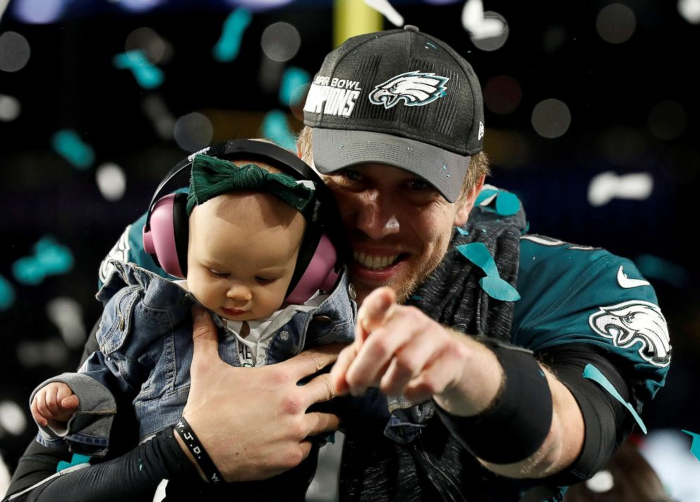 PHOTO: Philadelphia Eagles Nick Foles celebrates with his daughter after winning Super Bowl LII at the U.S. Bank Stadium in Minneapolis, Feb. 4, 2018.