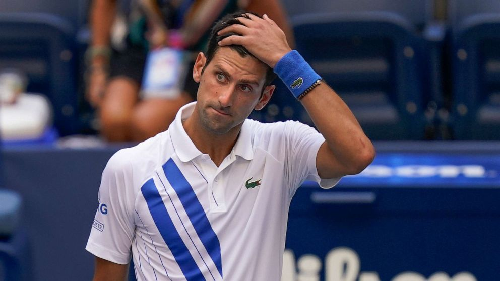 Novak Djokovic Apologizes After Defaulting Us Open Match For Hitting Line Umpire With Ball Abc News