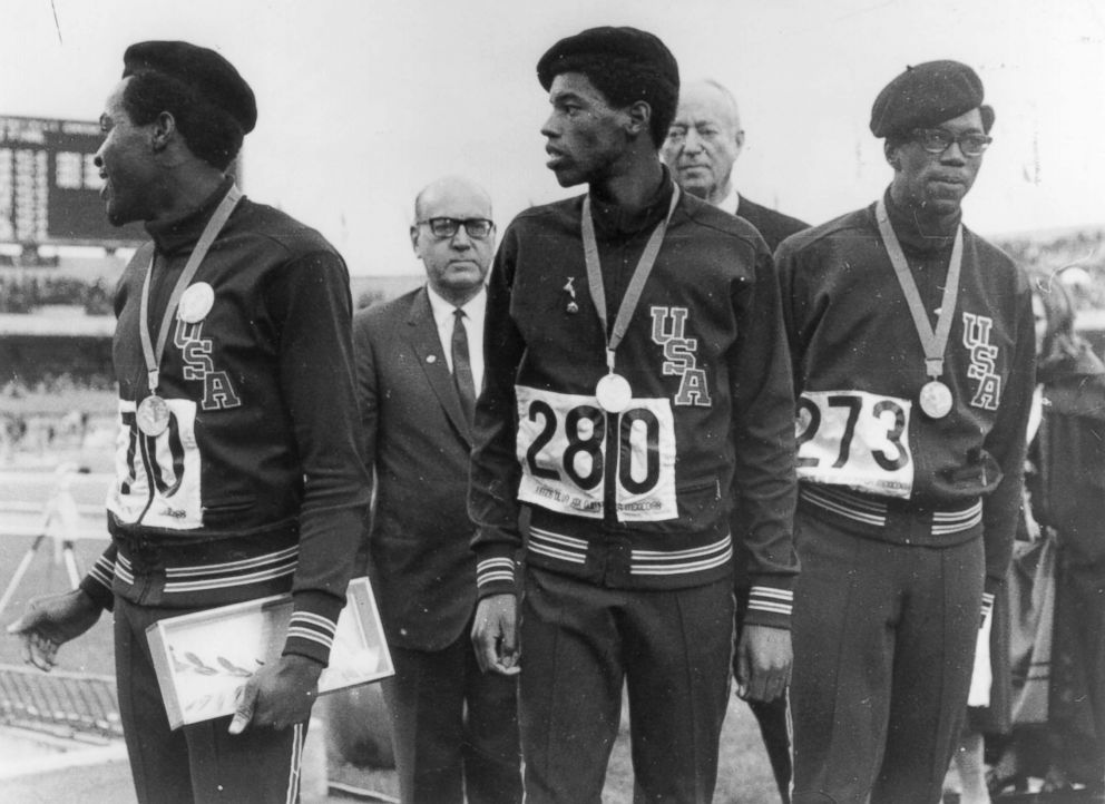 PHOTO: Olympic medal-winning athletes for the 400 meters (from left to right) Lee Evans (gold), Larry James (silver), and Ron Freeman (bronze), Oct. 22, 1968.