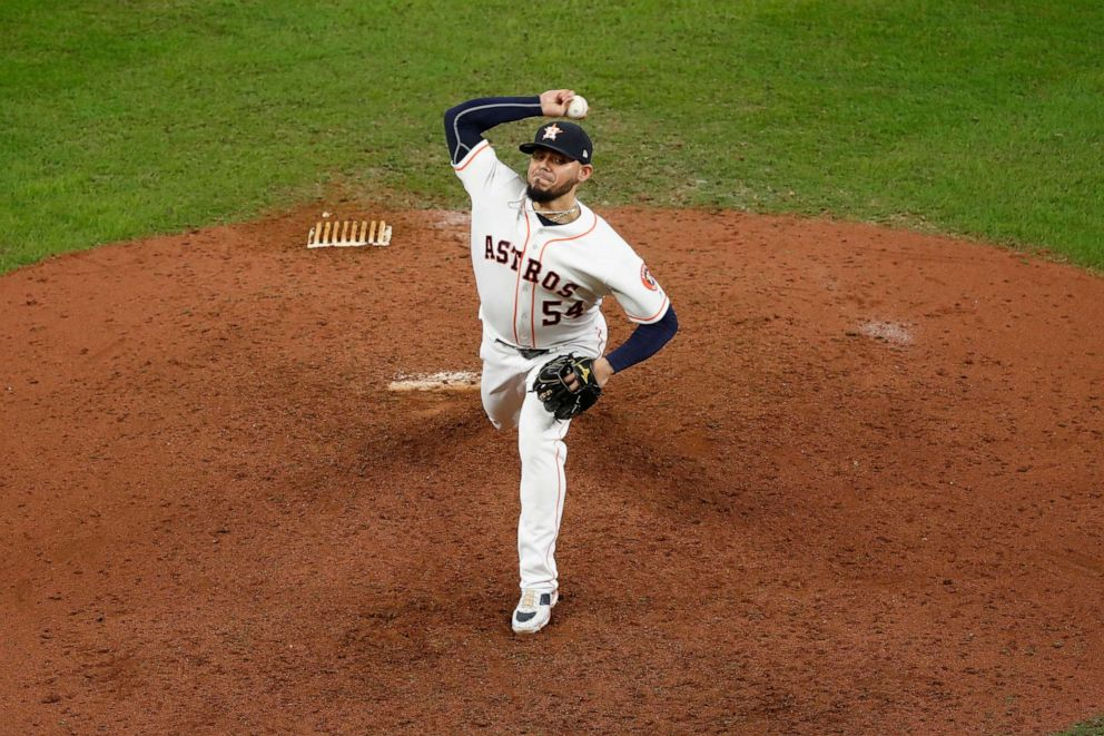 PHOTO: Roberto Osuna #54 of the Houston Astros pitches in the ninth inning against the New York Yankees during Game Six of the League Championship Series at Minute Maid Park on Oct. 19, 2019 in Houston, Texas.