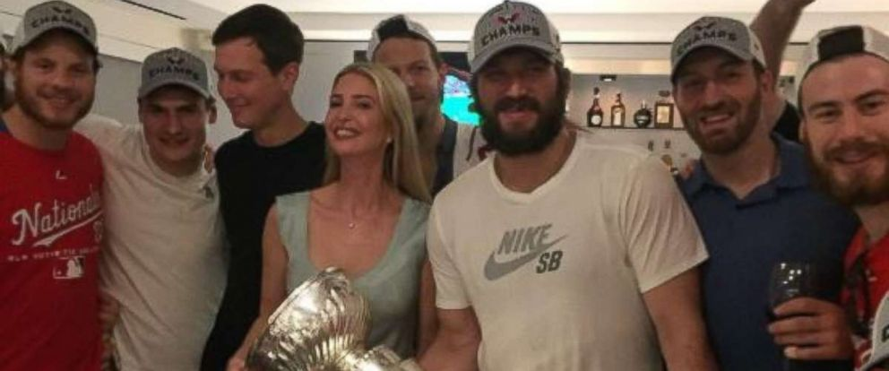 Alex Ovechkin posed with Ivanka Trump and her husband Jared Kushner, third from left, as he brought the Stanley Cup to Cafe Milano in Washington, D.C., on Saturday, June 9, 2018.