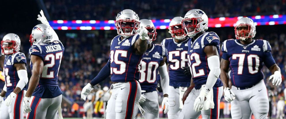 PHOTO: New England Patriots players celebrate during the fourth quarter against the Pittsburgh Steelers at Gillette Stadium, Sept. 8, 2019, in Foxborough, Massachusetts.