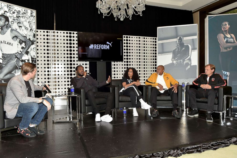Adam Petrick, Meek Mill, Skylar Diggins-Smith, Tommie Smith and Bjorn Gulden attend the PUMA #Reform To Drive Social Change launch at Atlanta History Center, Oct. 6, 2018, in Atlanta.
