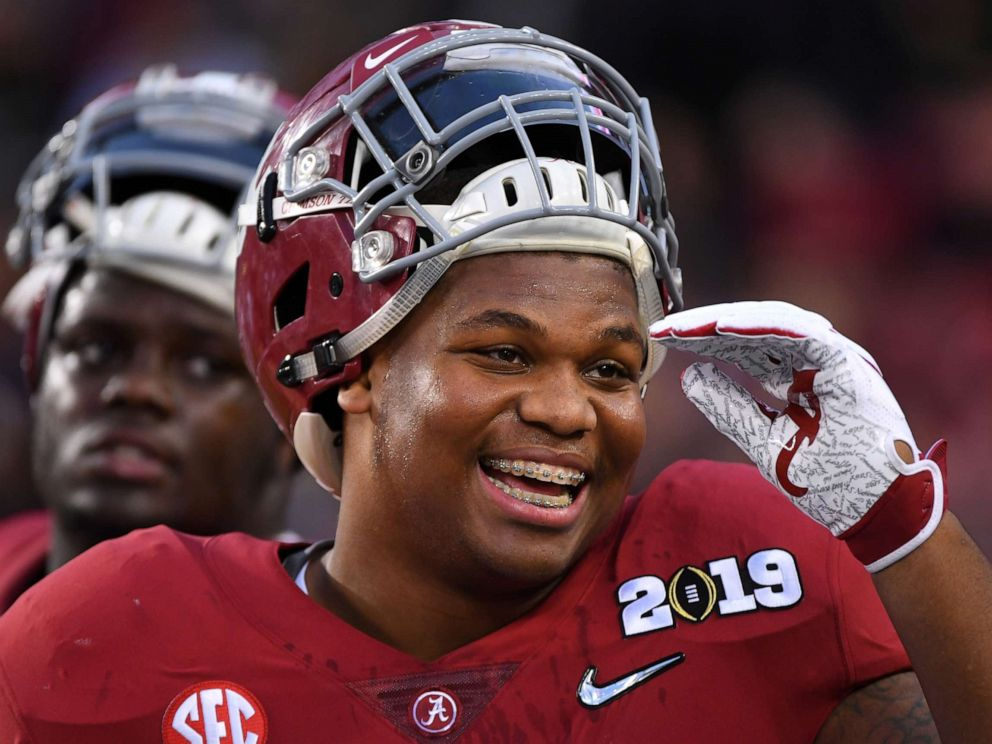 PHOTO: Quinnen Williams of the Alabama Crimson Tide smiles before taking on the Clemson Tigers during the College Football Playoff National Championship held at Levis Stadium on Jan. 7, 2019 in Santa Clara, Calif.