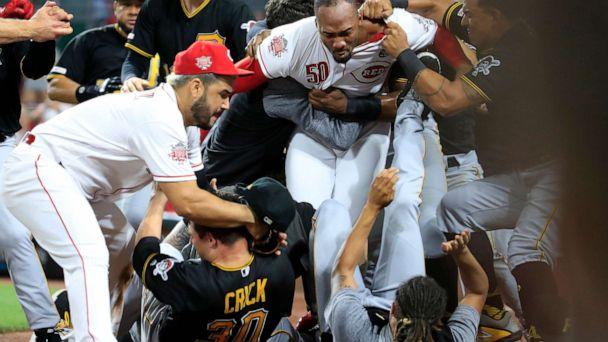 Reds battle Pittsburgh Pirates in bench-clearing brawl in Cincinnati