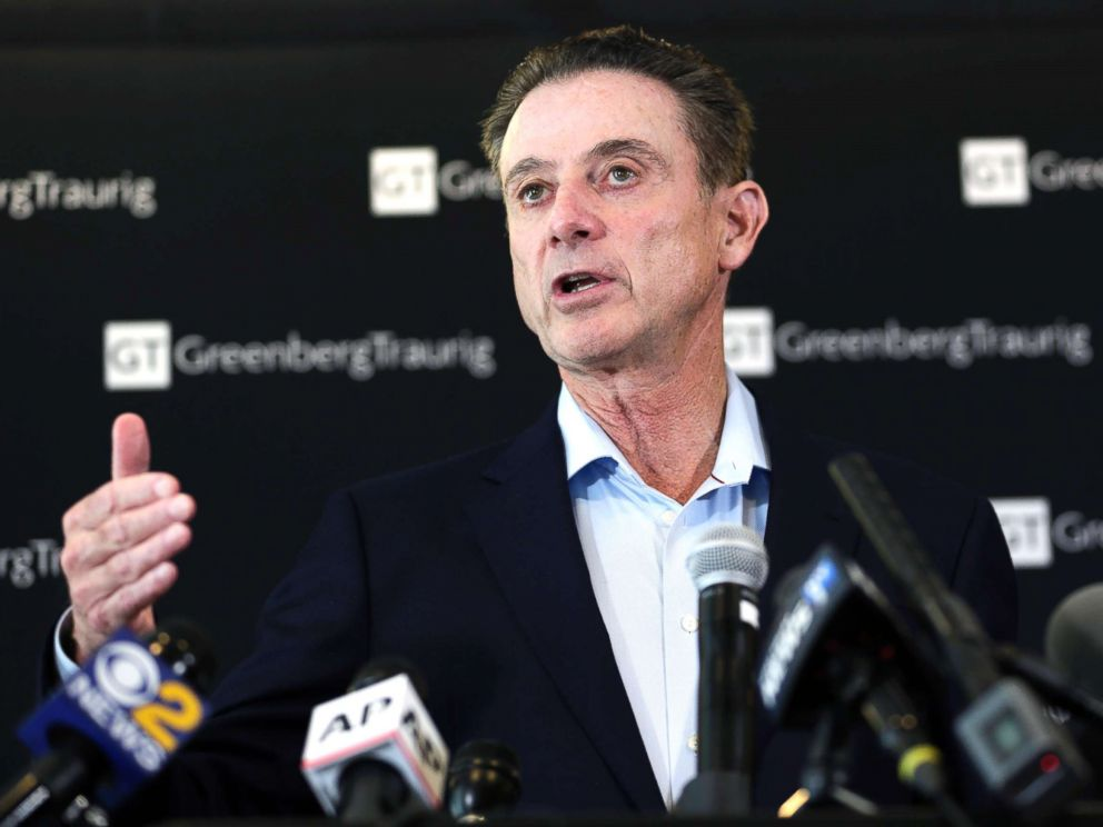 PHOTO: In this Feb. 21, 2018, file photo, former Louisville basketball coach Rick Pitino appears during a news conference in New York.