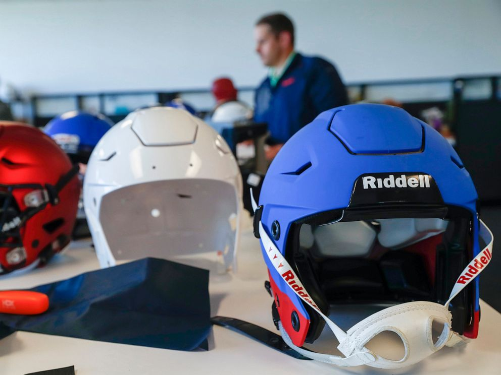 PHOTO: Riddell helmets in the research and development area at Riddell headquarters on October 5, 2017, in Des Plaines, Ill.