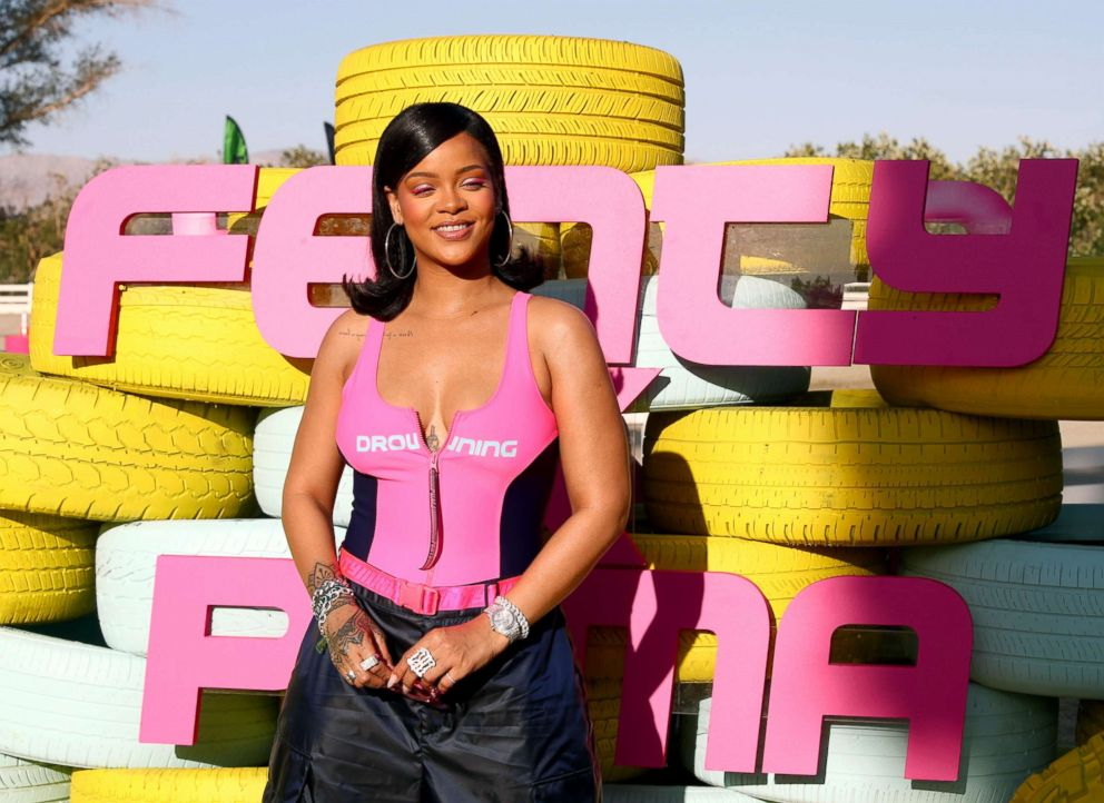 Rihanna attends the FentyXPUMA Drippin event launching the Summer '18 collection at Coachella, April 14, 2018, in Thermal, Calif.