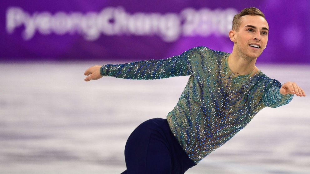 Adam Rippon competes in the men's single skating free skating of the figure skating event during the Pyeongchang 2018 Winter Olympic Games at the Gangneung Ice Arena in Gangneung, Feb. 17, 2018.